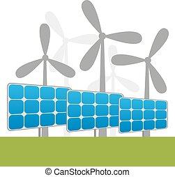 usines, éoliennes, énergie solaire