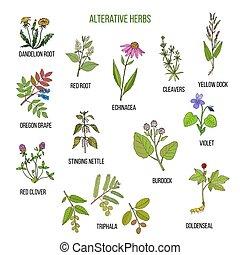 usines, alterative, ensemble, main, herbs., dessiné,...