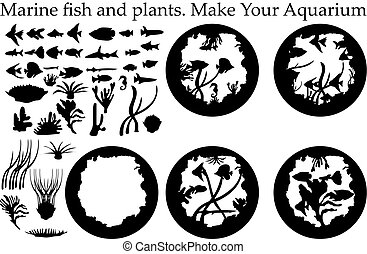 usines, aquarium., fish, silhouette, mer