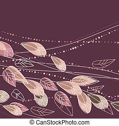 usines, arrière-plan beige, floral, fleurs, contour