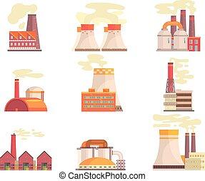 usines, bâtiments, industriel, coloré, puissance, set., moderne, usine, vecteur, illustrations