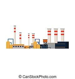 usines, bâtiments, industriel, puissance, usine, vecteur
