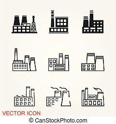 usines, bâtiments, industriel, puissance, usine, vecteur, icône