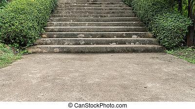 usines, béton, vert, escalier