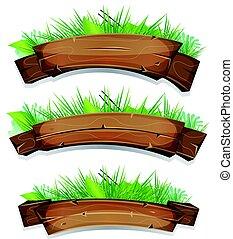 usines, bannières, feuilles, bois, comique