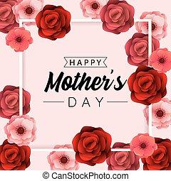 usines, beauté, mères, roses, fond, jour, célébration