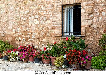 usines, dans, pots, sur, étroit, rues, de, les, ancien, ville, de, spello, ombrie, italie