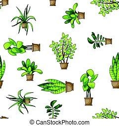 usines, différent, nature, maison, seamless, fond, dessin animé