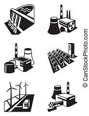 usines, différent, puissance