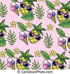 usines, exotique, lunettes soleil, fond, ananas