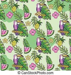 usines, exotique, pastèque, fond, ananas