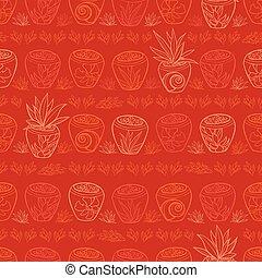 usines, exotique, wallpaper., reprise, cadeau, pattern., textile, recours, vecteur, potted, suitable, plage, emballer, rouges