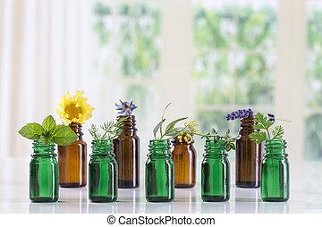 usines, huile, herbes, sélectif, bouteille, médicinal, essentiel