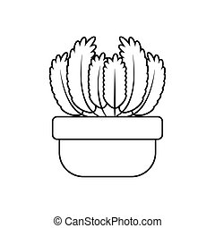 usines, icône, style, potted, succulent, ligne