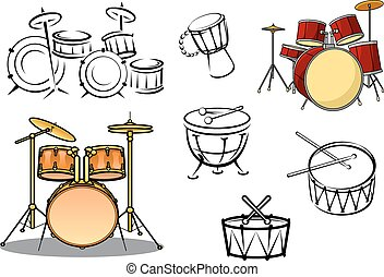 usines, instruments, tambour, percusiion