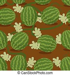 usines, intrigue, pastèques, pattern., seamless, texture, bed., plantation, arrière-plan., vecteur, water-melon, sowed, fruité