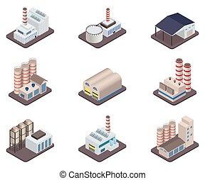 usines, isométrique, industriel, buldings, simple, -, usine, vecteur, ensemble, usines, icône