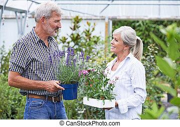 usines, jardin, couple, mûrir, choisir, centre