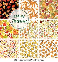 usines, leaves., arbres, seamless, automne, motifs