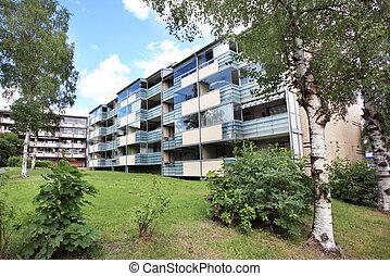 usines, maison, appartement, herbe, arbres