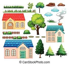 usines, maisons, différent