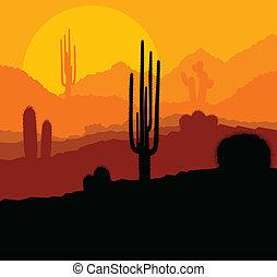 usines, mexique, vecteur, coucher soleil, cactus, désert