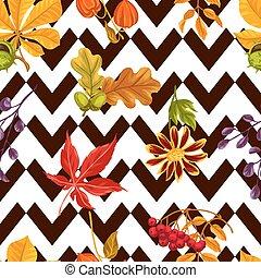 usines, modèle, feuilles, seamless, automne