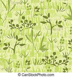 usines, modèle, seamless, peinture, arrière-plan vert, textured