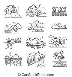 usines, montagnes, naturel, contour, vues, isolé, eau, paysages, ou