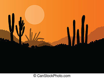 usines, nature, illustration, vecteur, fond, sauvage, cactus...