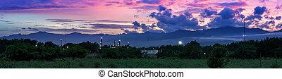 usines, panorama, pétrole, coucher soleil