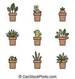 usines, plat, ensemble, icônes, maison, flowerpots., ligne