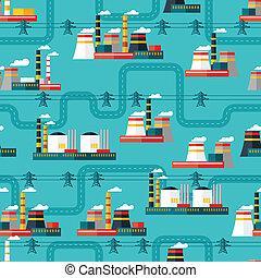 usines, plat, industriel, puissance, modèle, seamless, style.
