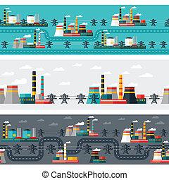 usines, plat, industriel, puissance, seamless, motifs, style.