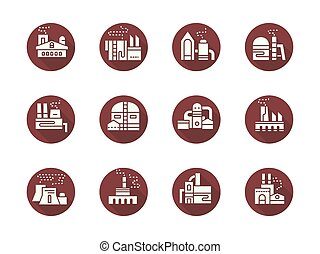 usines, plat, puissance, icônes, vecteur, usines, rond