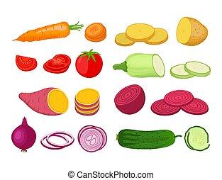 usines, plat, style, organique, jardin, set., vecteur, légume, dessin animé
