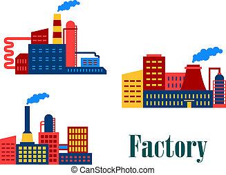 usines, plat, usine, icônes