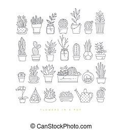 usines, pots, icône