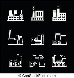 usines, puissance, icônes