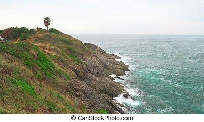 usines, rivage, rocheux, coupure, vert, ocean., vagues, couvert, long, ouvert, falaise