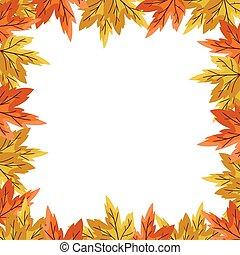 usines, saisonnier, cadre, automne, pousse feuilles