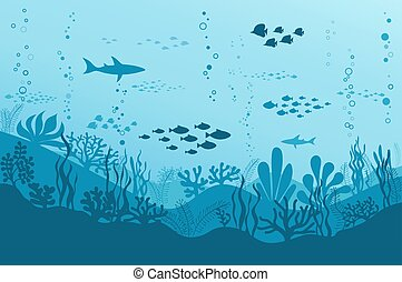 usines, sous-marin, mer, reefs., océan, poissons, vecteur, fond