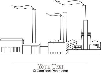 usines, usines, industriel, vecteur, bâtiments