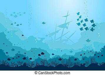 usines, vecteur, bateau, océan, sunken, poissons, mer, sous-marin, fond, reefs.