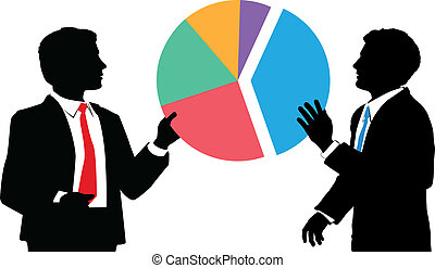 usiness people join market share pie chart