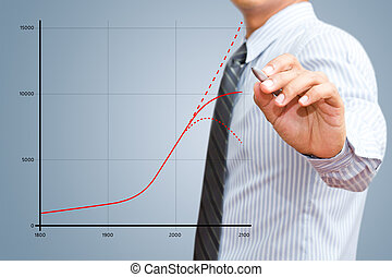 usinessman drawing growth chart - Businessman drawing world...