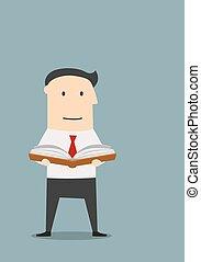 ?usinessman reading a book for new ideas - Cartoon...