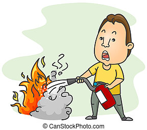 Using Fire Extinguisher - A Man Putting Out a Fire Using A...