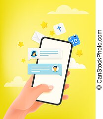 Using messenger via modern smartphone. Horizontal banner with copy space