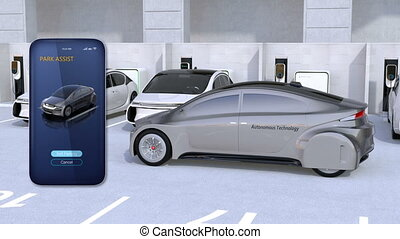 Using smart phone app to parking an autonomous car